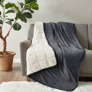Charcoal Velvet To Berber Blanket K7728