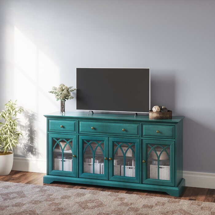 Antique Blue Vitiello TV Stand for TVs up to 60