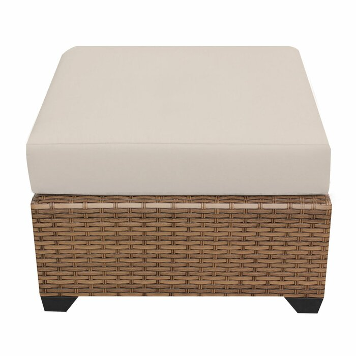 Caramel Waterbury Outdoor Ottoman with Beige Cushion