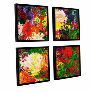 Wisteria and Roses 4 Piece Framed Painting Print on Canvas Set (#266)