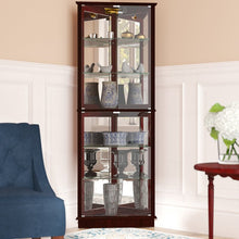 Load image into Gallery viewer, Woen Lighted Corner Curio Cabinet: Cherry #LX2027