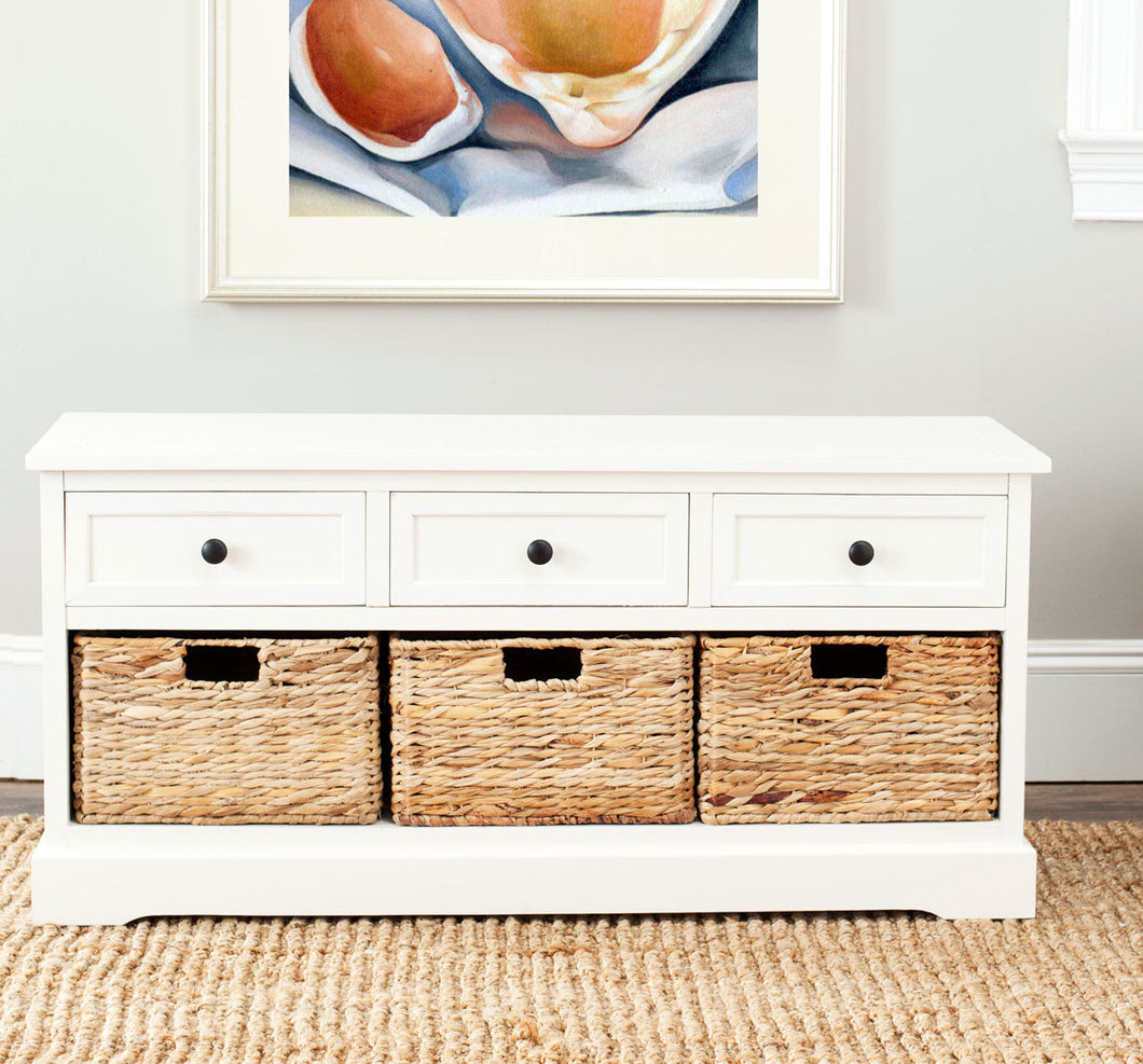 Damien 3 Drawer Storage Bench, Distressed Cream *AS IS* (#K2639)