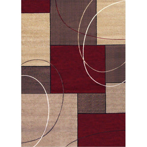 "Kalora Casa 6'7"" X 9'6"" Burgundy Taupe Familiar Red Rug #153R"