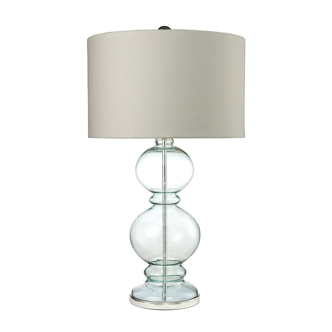 Clear Light Blue & Polished Chrome Table Lamp #CR2096