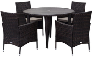 Safavieh Cooley Outdoor Contemporary Wicker 5 Piece Set with Cushion K7762