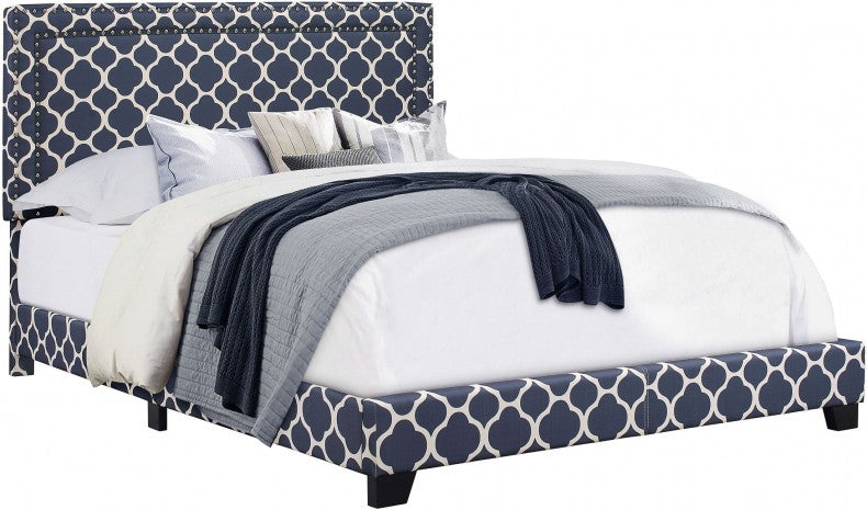 Quatrefoil Upholstered Bed, Marine - Queen (#K2257)