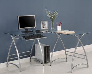 Cloer L-Shape Desk, Silver (#509)