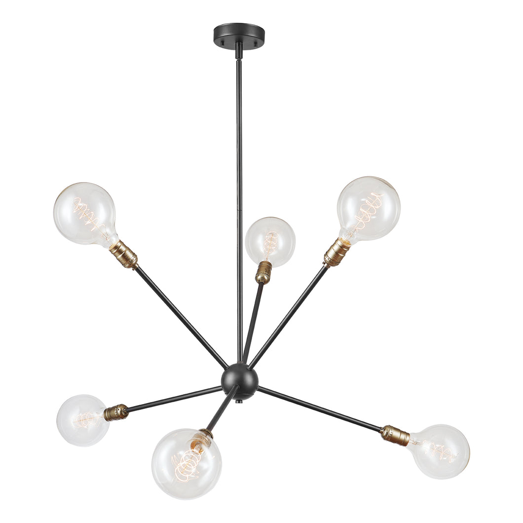 Axel 6-Light Matte Black Chandelier (#9)