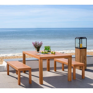Dario Natural Brown 3-Piece Wood Outdoor Dining Set #HA689