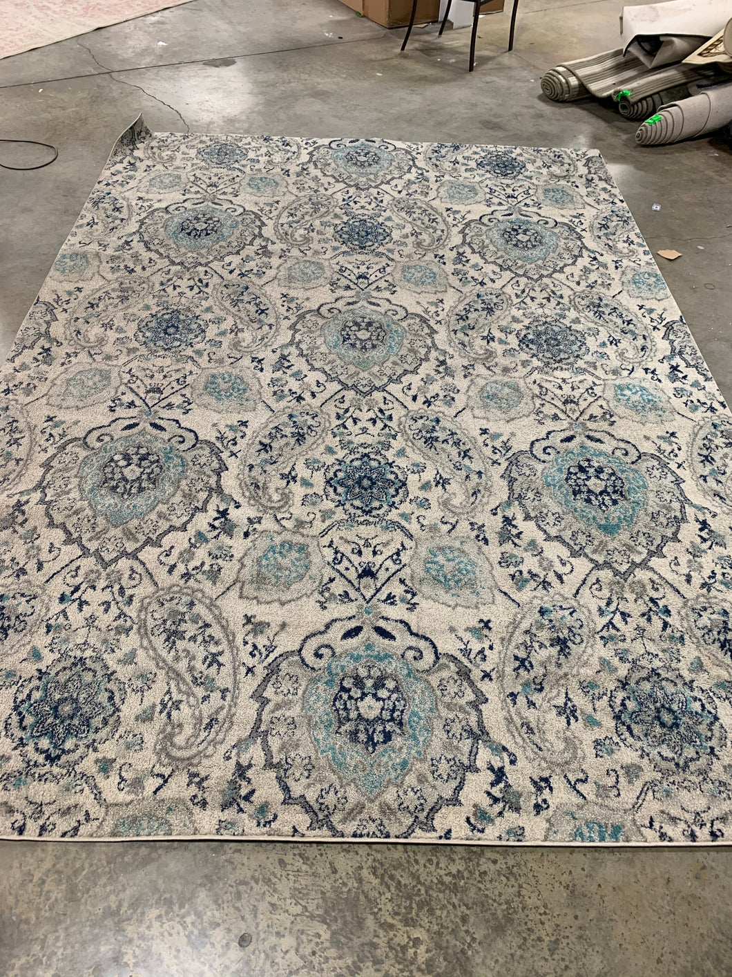 White and Marine Blue Area Rug, 9'x12' (#19R)