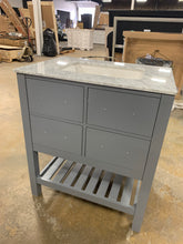 "Load image into Gallery viewer, 30"" Gray Bathroom Vanity With Marble Top, 3 Hole Sink Top"