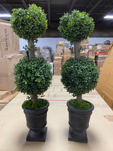 Load image into Gallery viewer, Artificial Boxwood Double Ball Topiary in Urn (Set of 2)  #SA638