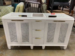 "60"" White/Marble Double Bathroom Vanity"