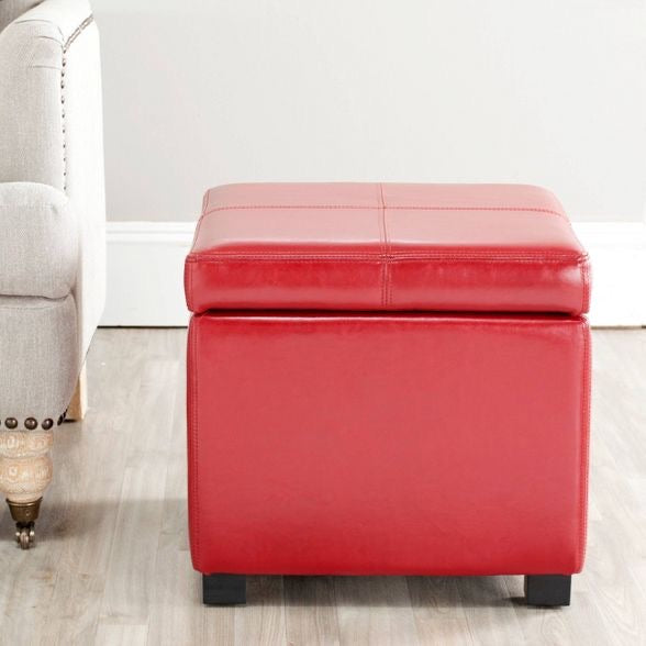 Red Faux Leather Ottoman #LX78