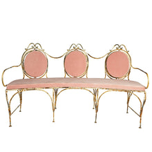 Load image into Gallery viewer, Metal Veranda Bench with Pink  cushions