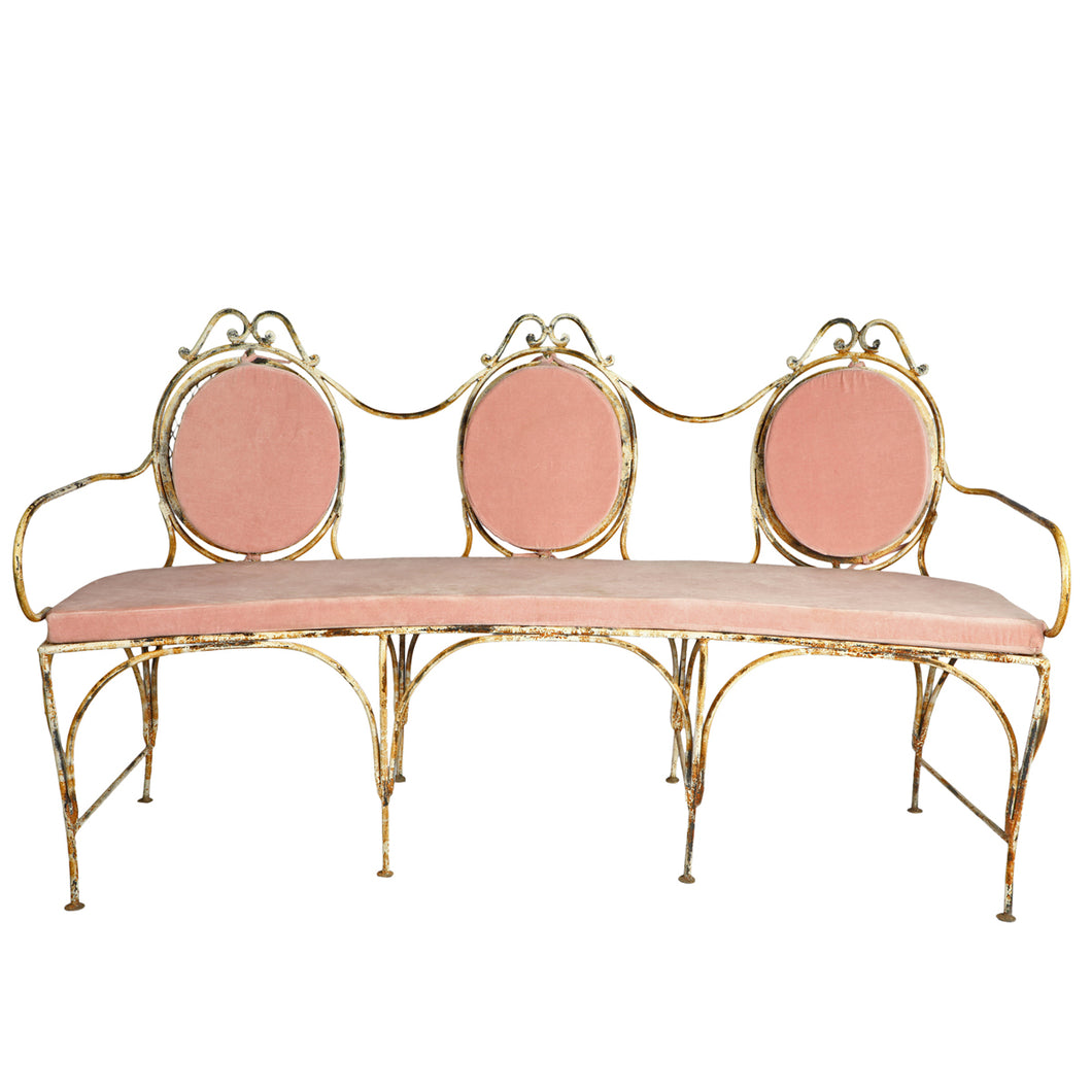 Metal Veranda Bench with Pink  cushions