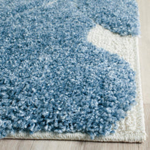 Load image into Gallery viewer, Florida Shag Light Blue/Cream 2' x 9' Runner Rug #126R