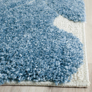 Florida Shag Light Blue/Cream 2' x 9' Runner Rug #126R
