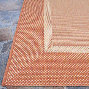 Recife Stria Texture Natural-Terracotta Indoor/Outdoor Area Rug KRUG012