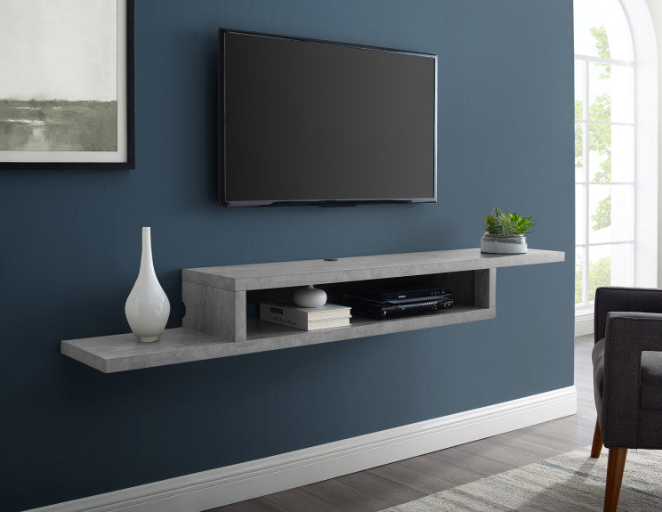 Asymmetrical Floating Wall Mounted TV Console, 72inch, Stone Gray, 72