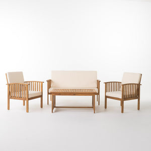 Carolina Brown 4-Piece Wood Patio Set with Beige Cushions  #SA689