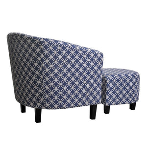 "Blue Poitras 21"" Barrel Chair and Ottoman  #SA719"
