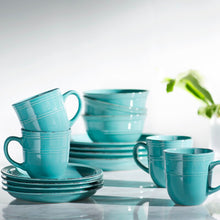 Load image into Gallery viewer, Aqua Blue Annabelle 16-Piece Dinnerware Set, Service for Four  #SA757