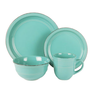 Aqua Blue Annabelle 16-Piece Dinnerware Set, Service for Four  #SA757