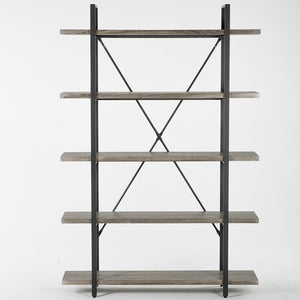 Nordheim 5-Shelf Industrial and Rustic Etagere Bookcase  #SA828
