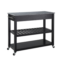 Load image into Gallery viewer, Black Kitchen Cart with Granite Top  #SA859