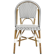 Load image into Gallery viewer, Salcha Black/White Stackable Aluminum/Wicker Outdoor Dining Chairs (Set of 2)  #SA901
