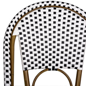 Salcha Black/White Stackable Aluminum/Wicker Outdoor Dining Chairs (Set of 2)  #SA901