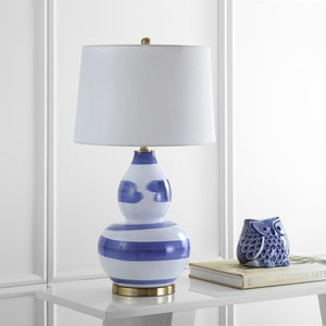 "Aileen 32"" Brushed Blue/White Table Lamp with White Shade  #SA906"