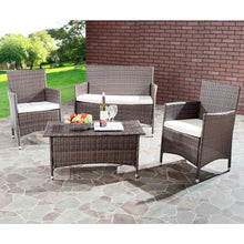 Load image into Gallery viewer, Mojavi Brown 4-Piece Wicker Patio Conversation Set with Beige Cushions 7435