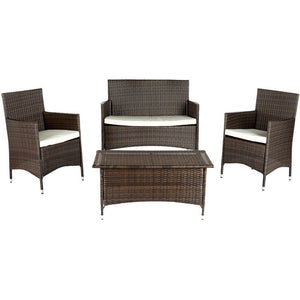 Mojavi Brown 4-Piece Wicker Patio Conversation Set with Beige Cushions 7435