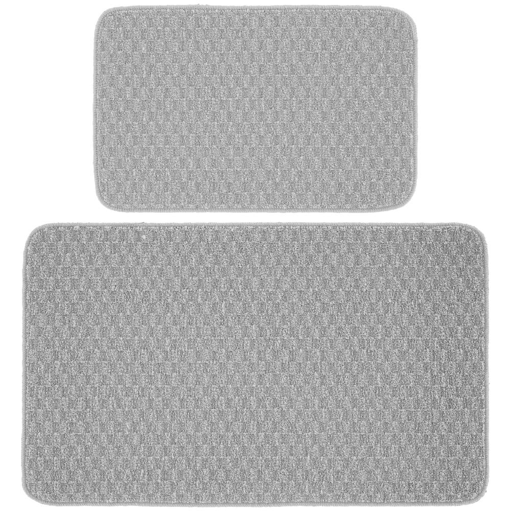 2 Piece Kitchen Mat Set, Silver - 30