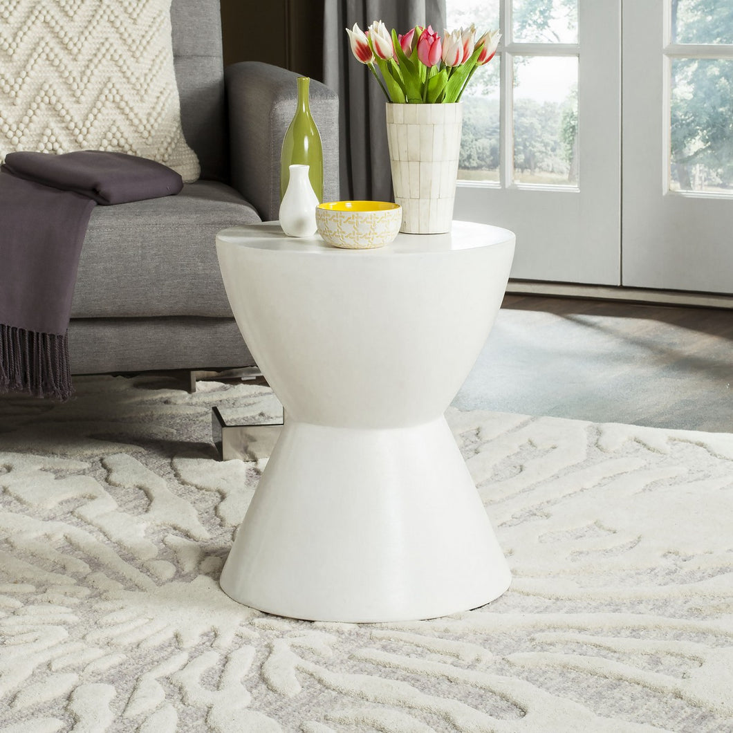 Athena Round Stone Indoor/Outdoor Accent Table, Ivory *AS IS* (#K2582)