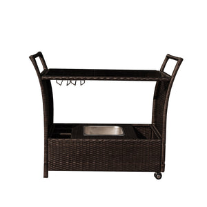 Weatherhill Rolling Wicker Bar Serving Cart