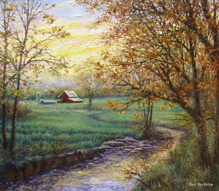 Fall Farm Original Oil Painting