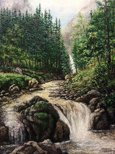 Forest Waterfall 14 X 18 inch original oil painting