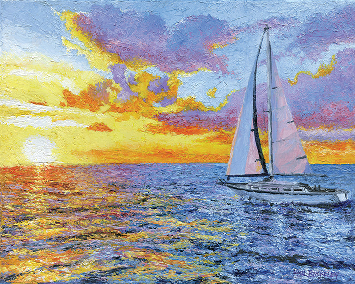 Sailing Into The Sun 16 X 20 inch Original Painting