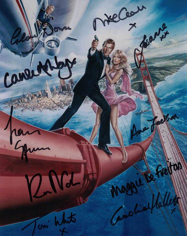 A VIEW TO A KILL hand signed by x 10 Bond girls from the film