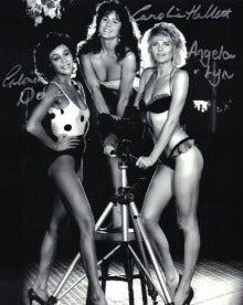 ANGELA LYN, GLORIA DOUSE & CAROLINE HALLETT- A View To A Kill Girls triple hand signed 10 x 8 Photo
