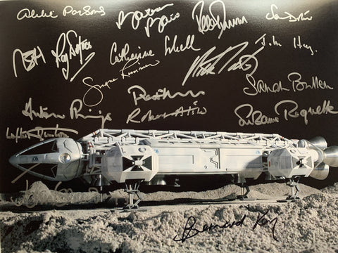 SPACE 1999 16 X 12 hand signed by cast x 18 including Barbara Bain