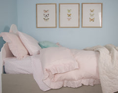 Pink Linen Ruffle Doona Cover Set , Bedding, Hickory Hill Home - 2