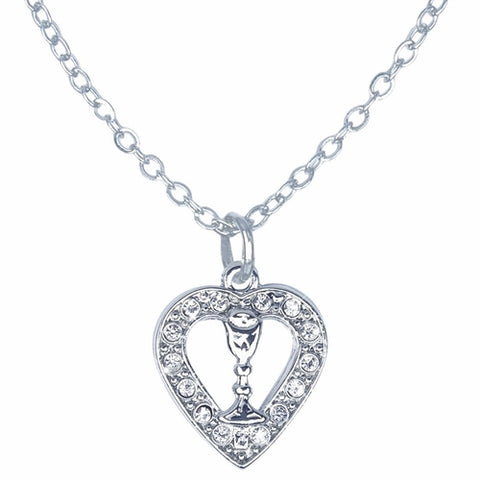 Necklace-heart Chalice CZ First Co