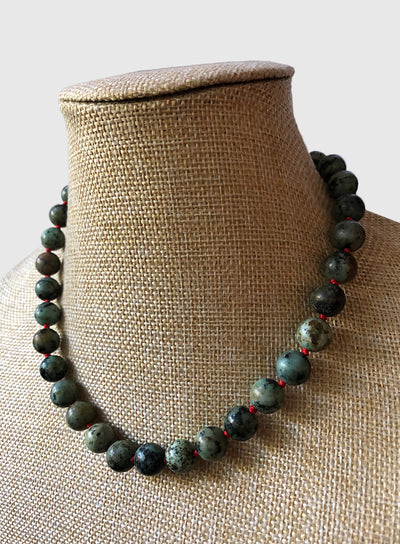 AMAVI AFRICAN TURQUOISE RED KNOT CHOKER