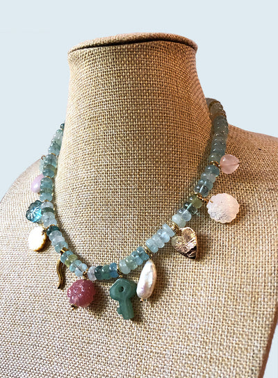 AMAVI AQUAMARINE RONDELLE WITH SEMI PRECIOUS CHARMS NECKLACE