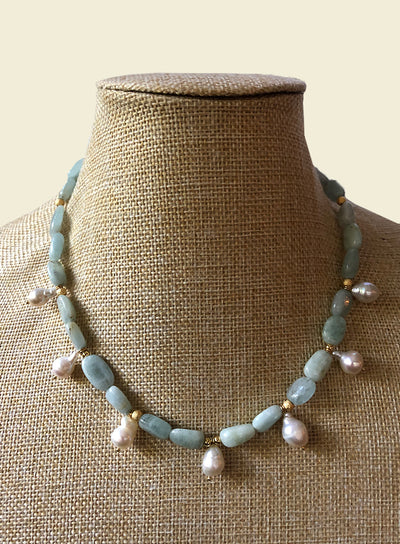 AMAVI AQUAMARINE WITH PEARL CHARMS NECKLACE