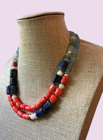 AMAVI DOUBLE STRAND AQUAMARINE, SODALITE AND CORAL NECKLACE